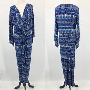 T-Bags Los Angeles Blue Print Maxi Dress
